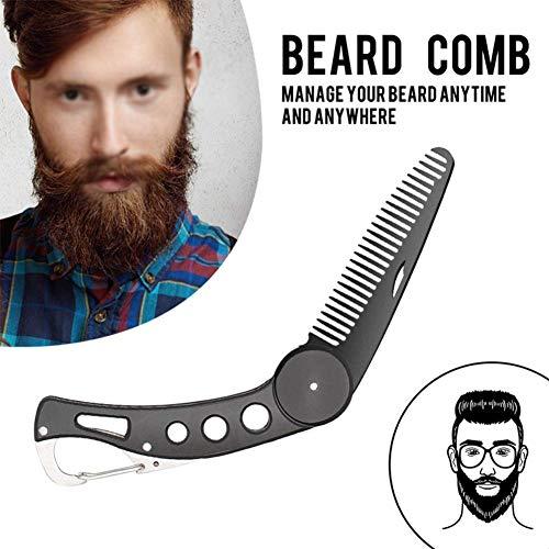 Carereor, pettine da barba in acciaio inox, pieghevole, per uomini, per pettinare e pettinare capelli, barba e baffi, pettine pieghevole tascabile