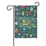 Fauibe Duble Sided Hand-Drawn Doodles Back to School Holiday End Polyester Garden Flag Banner 12 x 18 Inch Garden Flag House Flag Double Side Holiday Party Yard Outdoor