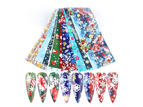 Christmas Nail Foil Art Design Print Decals Tranfer Decoration Nail Stickers for Acrylic Nails (Christmas_1036)
