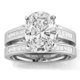 2.45 Carat t.w. 14k White Gold Channel Set Princess Cut Diamond Engagement Ring with a 2 Ct Forever...