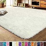 LOCHAS Ultra Soft Indoor Modern Area Rugs Fluffy Living Room Carpets for Children Bedroom Home Decor Nursery Rug 3x5 Feet, Cream Beige