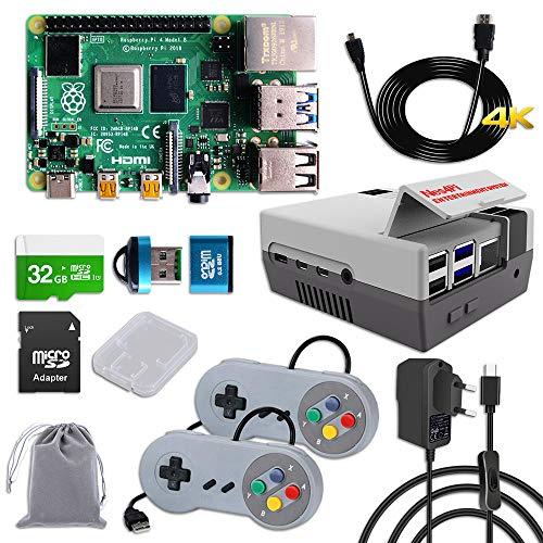 MakerFun Raspberry Pi 4 8 GB RAM Starter Kit con 32GB SD Card, Nes4Pi Caja, 5V 3A Alimentación , 2 Controladores, Disipadores, Ventilador, Cable Micro HDMI y lector de tarjetas SD