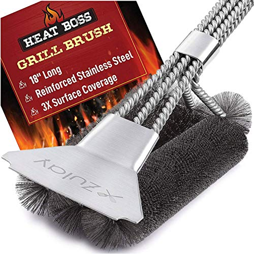 18' Heat Boss Grill Brush and Scraper - 3 Rows of Reinforced Stainless Steel Bristles - Best Heavy Duty Outdoor Grill Brush for All Grill Types - Long 18' BBQ Grill Brush Handle - by Zulay Kitchen