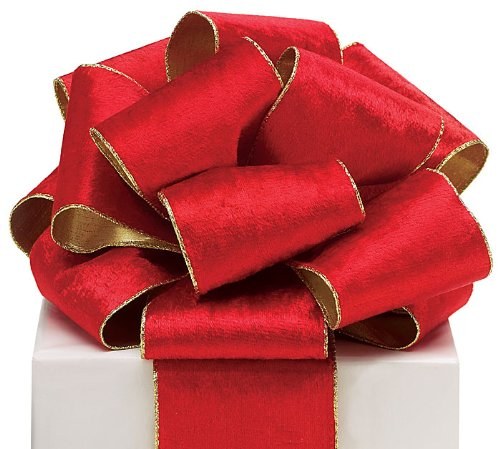 Burton & Burton #100 Red Wired Velvet Ribbon with Gold Edge and Gold Backing. - 4W X 20 Yds