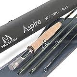 M MAXIMUMCATCH Aspire - Fly Fishing Rod 40T Carbon Fiber, Anodized Reel Seat, 4-Piece, 5/6/8 wt (9' 6wt)