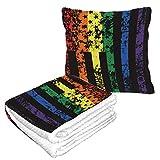 Well Traveled Funny Rainbow American Flag Manta plegable de orgullo gay de viaje 50 × 60.23 pulgadas Manta de viaje combinada 2 en 1 cálida y suave para aviones Camping, viajes en automóvil Almohada