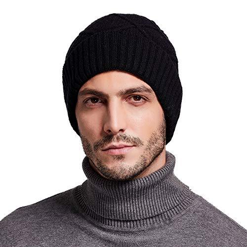RIONA Berretto Uomo in Maglia per Inverno Caldo Cappello Beanie Berretto Invernale da Uomo 100% Lana Merino