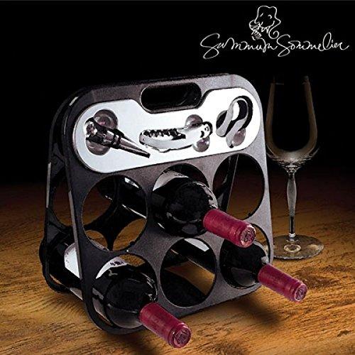 Porta bottiglie portabottiglie cantinetta vino per max.6 bottiglie di vino con accessori