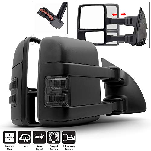 Acanii - Telescoping Power Heat SMOKE LED Signal Towing Mirrors Left+Right For 99-07 Ford F250/F350/F450/F550 SuperDuty