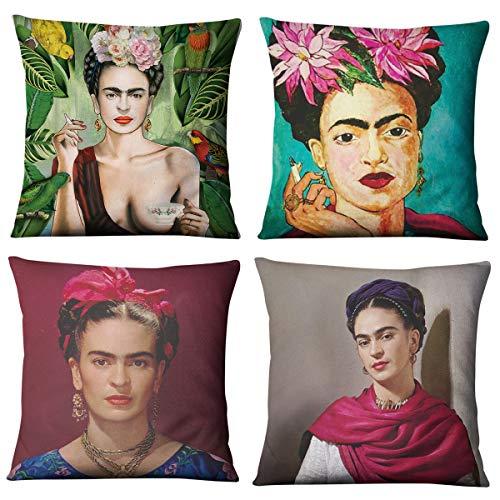 Frida Kahlo Funda de cojín con Estampado de Lino para decoración del hogar, funda de almohada 4 piezas(45 cm x 45 cm)