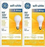 GE Soft White 3-way 50/100/150 Watt A21 2-pack