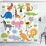 Ambesonne Animal Shower Curtain, Giraffe Elephant Zebra Turtle Kids Nursery Baby Themed Cartoon Comic Print, Cloth Fabric Bathroom Decor Set with Hooks, 75' Long, White Orange