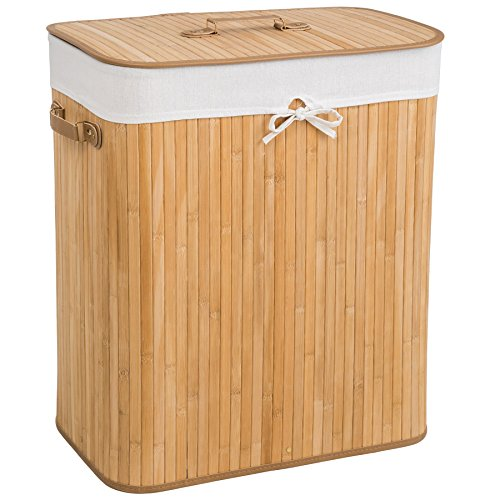TecTake Robuster Bambus Wäschekorb faltbar mit Deckel und herausnehmbarem Wäschesack - Diverse Modelle - (100L Natural   Nr. 401834)