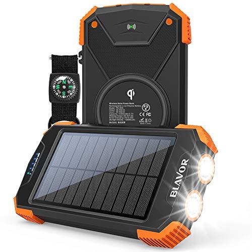 BLAVOR Batterie Externe Solaire 10000mAh Chargeur Portable avec Panneau Solaire, Splashproof, Antipoussière, Antichoc Power Bank avec Double Lampe de Poche, Port d'entrée de Type C, Boussole (Orange)