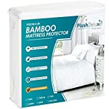 PlushDeluxe Premium Bamboo Mattress Protector – Waterproof, Hypoallergenic & Ultra Soft Breathable Bed Mattress Cover for Maximum Comfort & Protection - PVC, Phthalate & Vinyl-Free (Queen Size)