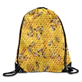 Etryrt Mochilas/Bolsas de Gimnasia,Bolsas de Cuerdas, Honey Bees On A Honey Combs Print Drawstring Backpack Rucksack Shoulder Bags Gym Bag