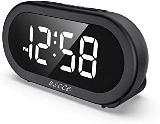 USCCE Small LED Digital Alarm Clock with Snooze, Easy to Set, Full Range Brightness..