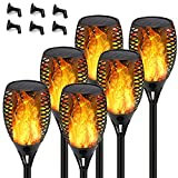 Staaricc 6Pack Solar Lights Outdoor, Solar Torch Light with Flickering Flame for Halloween&Christmas, Waterproof Festive Decoration&Romantic Landscape Large Torch Lights for Garden Pathway-Auto On/Off