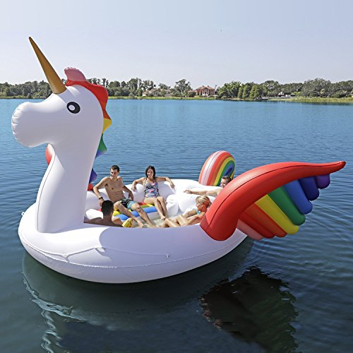 Sun Pleasure Party Bird Island Giant Unicorn Float - Fast Speed Pump Included - Inflatable Unicorn with Pump and Carrying Bag - Use in Lake, River, Ocean, Pool Floats for up to 6 People