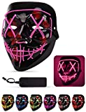Lizber Halloween Mask, Led Light Up Mask with Neon Wires, Adjustable Scary Masquerade Glow Mask for Festivals, Parties, Carnivals and Raves, Glowing Mask for Men, Women, Kids, HotPink