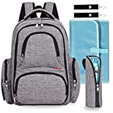 Baby Diaper Bag Waterproof Travel Diaper Backpack with Changing Pad and Stroller Clips (Gray)