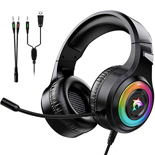 Micro Casque Gaming PS4, Casque Gaming Switch avec Micro Anti Bruit Casque Gamer Xbox One Filaire LED Lampe Stéréo Bass Microphone Réglable avec Micro 3.5mm Jack pour PS4/PS5/PC/Mac/Laptop (Black)