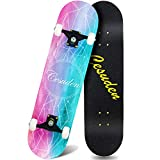 ANDRIMAX Skateboards-Complete Skateboards for Beginners Kids Boys Girls Adults Youth-Standard Skateboards 31''x8'' with 7 Lays Maple Deck Pro Skateboards, Longboard Skate Boards…