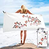 Lawenp Toalla de Playa de Secado rápido, Microfibra con Estampado Floral de Cereza Realista Toallas de baño Ligeras súper absorbentes para niños y Adultos 31.5 'X63'