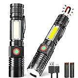 LED Taschenlampe USB Aufladbar (mit 18650 Akku), AOMEES Extrem Hell Kleine Taktische Taschenlampe mit Magnet, COB Arbeitsleuchte USB Wasserdicht Fokus SOS Taschenlampen LED mit 4 Modi, für Camping