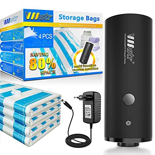 VMstr Sacco a Vuoto con Pompa elettrica, 2 x (70 * 50 cm) + 2 x (60 * 40 cm) Dimensione della Porta della valvola Compatibile Universale Risparmiare Spazio per Il Viaggio e l'armadio