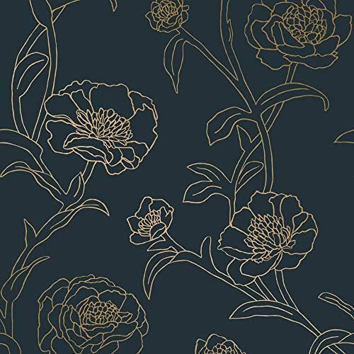 Tempaper PE10633 Peonies Çıkarılabilir Kabuğu ve Sopa Duvar Kağıdı, Tavuskuşu Mavisi ve Metalik Altın