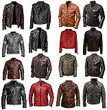 UGFashions Cafe Racer Jacket Men's Retro Vintage Biker Motorcycle Distressed Black Leather Jacket