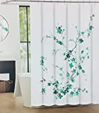 Tahari Luxury Shower Curtain Printemps 2 Light Dark Green Floral with Gray Branches