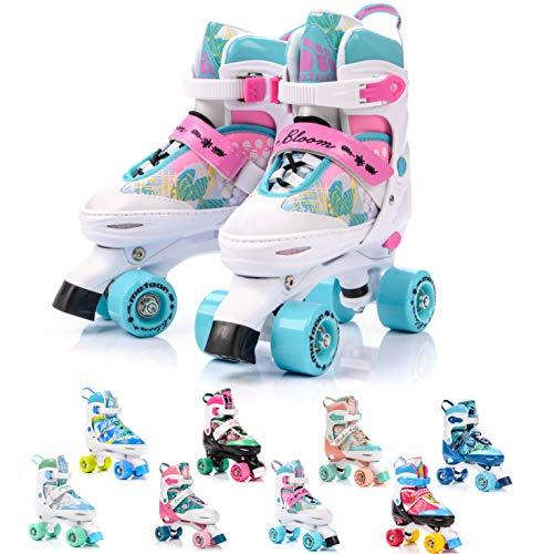 meteor Pattini a rotelle Discoteca Skate - Roller Parallel 4 Ruote - Pattini da Pattinaggio in Quad per Bambini Adolescenti e Adulti - Taglia Regolabile (L 39-42, Bloom)