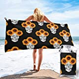 Lawenp Toalla de Playa de Secado rápido, Girasol con Estampado de Calavera de Halloween, Microfibra, Toallas de baño Ligeras, súper absorbentes para niños y Adultos de 31.5 'X63'