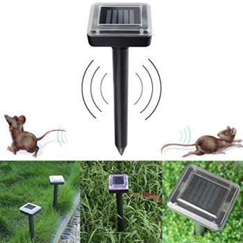 LiQinKeJi8 Répulsif à ultrasons durable à énergie solaire pour rats, souris, serpent et rongeurs - Épouvantail pour contrôle des oiseaux - Couleur : noir