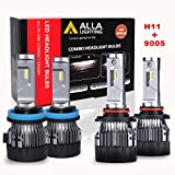 ALLA Lighting S-HCR H11 9005 Combo LED Headlight Bulbs 10000Lms Extreme Super Bright High Beam And Low Beam Conversion Kits Replacement for Cars, Trucks, 6000K ~ 6500K Xenon White (4 Packs, 2 Sets)