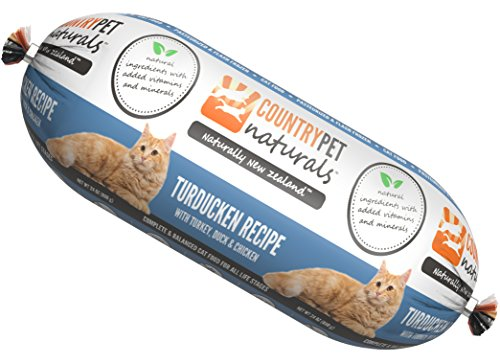 CountryPet Naturals Pasteurized Frozen Cat Food, 1.5 lbs, Turkey Duck and Chicken Recipe, 16 Rolls (24 lbs Total), Made in New Zealand