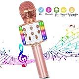 Microphone Sans Fil Karaoké, Bluetooth Micro Lecteur de karaoké portable 4 en 1 avec lumières LED dansantes Compatible avec les appareils Android et iOS pour la maison KTV/Party
