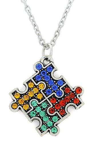 fishhook Amo da Pesca Crystal Puzzle Pezzo per autismo consapevolezza Ciondolo Collana Inspirational Gift for Special Group