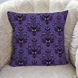 Roses Garden Decorative Throw Pillow Cover Happy Halloween Haunted Mansion Design Pillow Case Square Cushion Cover Super Soft Brushed Fabric Pillowcase for Home Couch Sofa Bed, 18' x 18'