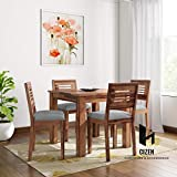 Cizen Sheesham Wood Wooden Dining Set 4 Seater | Dining Table with 4 Chairs | Dining Room Furniture | Gray Cushions | Natural Honey Finish