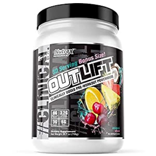 Nutrex Research Outlift Bonus Size | Clinically Dosed Pre-Workout Powerhouse, Citrulline, BCAA, Creatine, Beta-Alanine, Taurine, Banned Substance Free |Miami Vice |30 Servings