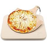 Hans Grill Pizzastein Pizza Ofenstein mit Holz Pizza Peel Brett   Langlebig, dick & echt Holz, rechteckig, leicht zu Handhaben   Backen, Grillen und Servieren Für Torten, Gebäck, Kuchen, Brot, Pizza