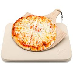 """Pizza Stone by Hans Grill Baking Stone For Pizzas use in Oven and Grill / BBQ FREE Wooden Pizza Peel Rectangular Board 15 x 12 """" Inches Easy Handle Baking   Bake Grill, For Pies, Pastry Bread, Calzone"""