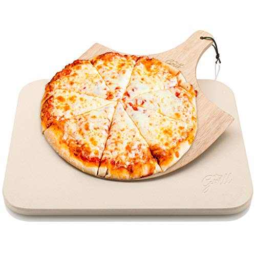 """Pizza Stone by Hans Grill Baking Stone For Pizzas use in Oven and Grill / BBQ FREE Wooden Pizza Peel Rectangular Board 15 x 12 """" Inches Easy Handle Baking 