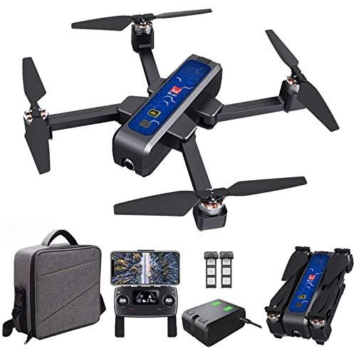 Drone Bugs 4W GPS FPV Drone con fotocamera HD 4K, trasmissione WiFi da 5G, quadcopter rc pieghevole brushless con posizionamento ottico a flusso, ritorno automatico, seguimi, con borsetta, 2 batteria