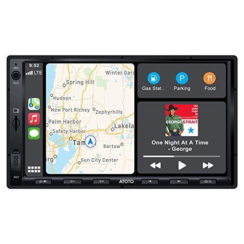 ATOTO F7 Standard 7 Pouces Double Din F7G2A7SE -Navigation vidéo intégré au Tableau de Bord-Connexion Android Auto et CarPlay, AutoLink, Charge Rapide, BT, Entrée de caméra HD, Stockage jusqu'à 2 to