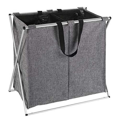 WENKO Wäschesammler Duo Grau meliert - Wäschekorb Fassungsvermögen: 120 l, Polyester, 59 x 57 x 38 cm, Grau