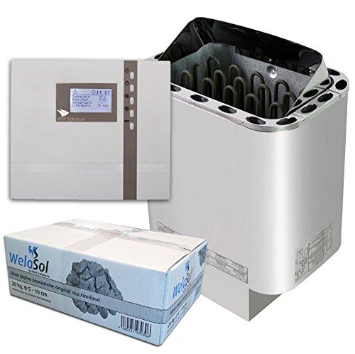 Well Solutions Saunaset | Saunaofen Edelstahl Next 9 kW | Externe Sauna Steuerung Premium D2 mit Zeitvorwahl | Sauna Technik Set aus dem Hause Well Solutions
